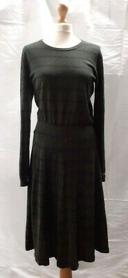 £15 • Buy Brora Green Charcoal Striped Merino Wool Cashmere Dress Size UK 16 Pre-Owned