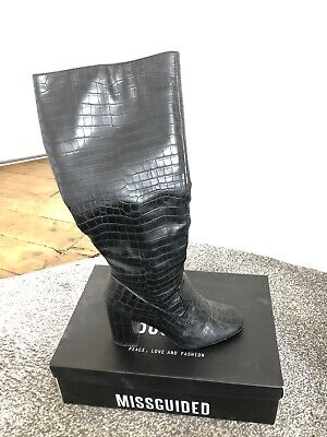 £0.99 • Buy NEW LOOK Black Knee Length Heeled Croc Patterned Boots Size 7