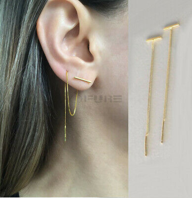 £4.99 • Buy Hypoallergenic Gold Double Piercing Chain Dangle Bar Threader Cartilage Earrings