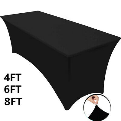 £10.88 • Buy White Black Spandex Stretch Tablecloth Table Cover Cloth Rectangular Wedding UK