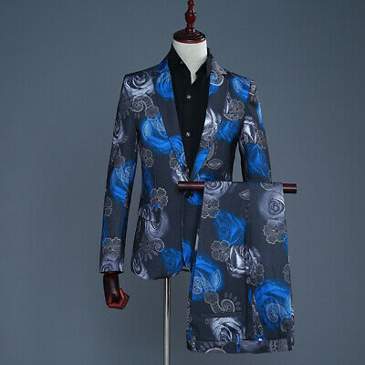 $ CDN131.10 • Buy Hot 2Pc Mens Suits Floral Loose Wedding Groom Tuxedos Formal Dress Business Show