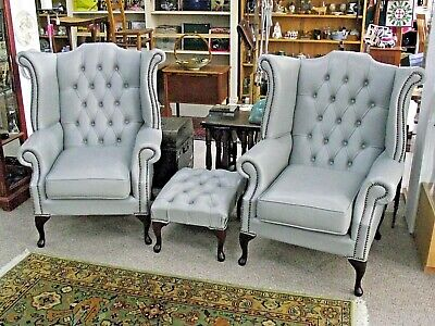 £675 • Buy 2 X BEAUTIFUL GREY LEATHER CHESTERFIELD CHAIRS & FOOT STOOL