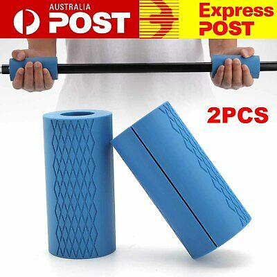 AU17.99 • Buy 1 Pair Thick Fat Barbell Silicone Grips Gym Arm Dumbbell Weightlifting Fat Grips