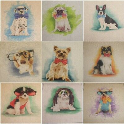 £2.65 • Buy NOVELTY DOGS CUSHION & BAG PANELS From Chatham Glyn - Linen Look Cotton Fabric