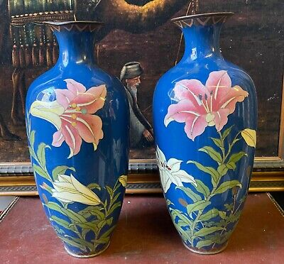 £85 • Buy A Pair Of Large Early 20th Century Japanese Cloisonne Enamel Vases
