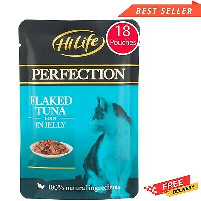 £16.50 • Buy HiLife Perfection - Wet Cat Food - Flaked Tuna Loin In Jelly - Natural Grain 18