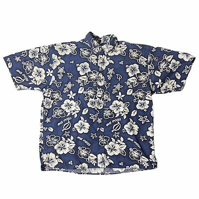 $12.66 • Buy Big Dogs Mens Floral All Over Print Button Front Cotton Short Sleeve Shirt XL