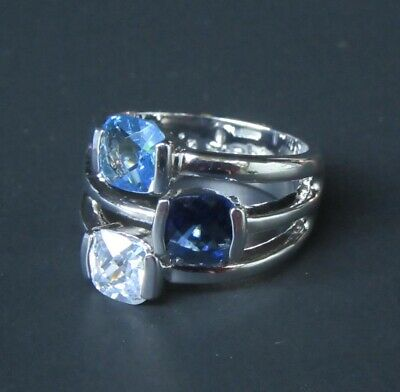 $ CDN0.75 • Buy Lia Sophia Jewelry Riviera Blue Cut Crystals And CZS Ring In Silver Size 7 RV$48