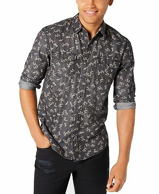 $6.99 • Buy American Rag Mens Shirt Black Size Small S Floral-Print Snap-Button $45 049