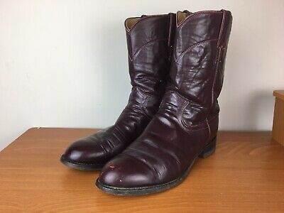 $33 • Buy Justin USA Made 3037 Roper Burgundy Mens 10 D Leather Cowboy Western Boots