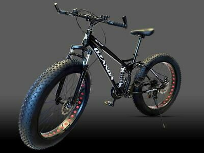 AU589 • Buy Black 26  Large Fat Tire Bicycle Full Suspension Mountain Bike 21 Speed DH628