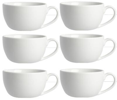 £10.95 • Buy 6 Cappuccino Cups Large White Porcelain Round Cup 12oz 34cl Hot Drink Mug