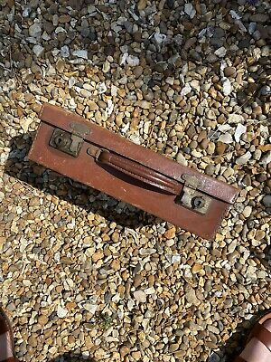 £20 • Buy Antique Tan Leather Suitcase Or  Briefcase 1930-40's