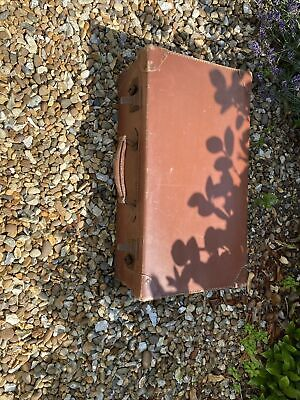 £10 • Buy Antique Tan Leather Suitcase Or  Briefcase 1930-40's