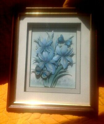 £12.99 • Buy Vintage Decoupage 3d Picture Rob Pohl Floral Irises And Butterflies