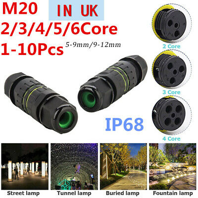 £2.79 • Buy 2 -6 Pole Core Joint Outdoor IP68 Waterproof Electrical Cable Wire Connector UK