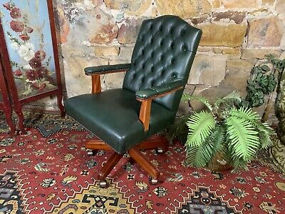 AU9.99 • Buy Stunning Vintage Antique Style Green Leather Office Desk Chair~ Chesterfield