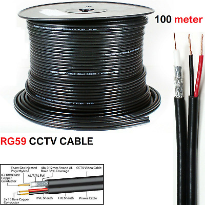 £27.99 • Buy High Quality 100 Meter Shotgun RG59 Video And 2 Power CCTV Cable Lead Security