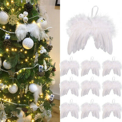 £5.97 • Buy  1-10pc Angel Wings Feather Wings Pendant Christmas Tree Baby Christening Decor
