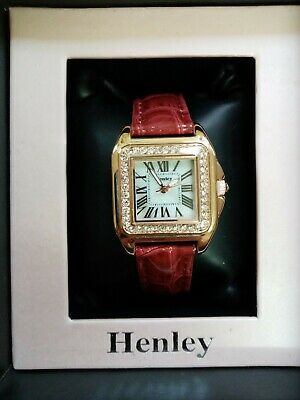 £22 • Buy Henley Ladies Square Watch Diamante New Mother Of Pearl Face