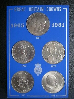 £9.99 • Buy UK British 1965 1972 1977 1980 & 1981 Cu-Ni 5x Crown Coin Collection Set - Cased