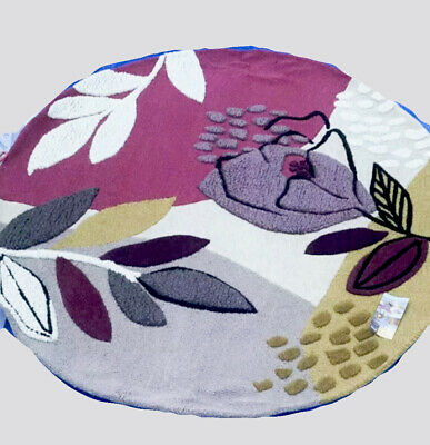 £99.99 • Buy New Next Hand Carved Dolce Floral Wool Rug Plum Ochre Lilac - Round- Diam 160cm
