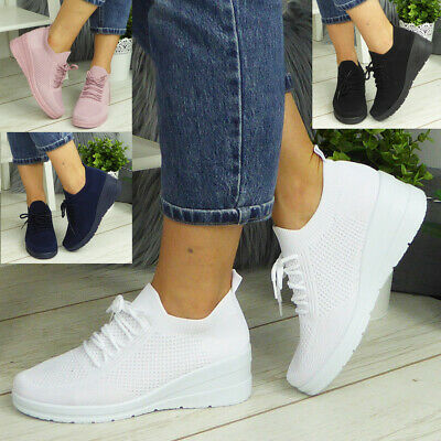 £12.95 • Buy Ladies Slip On Shoes Wedge Pumps Comfy Casual Loafers Womens Lace Up Trainers