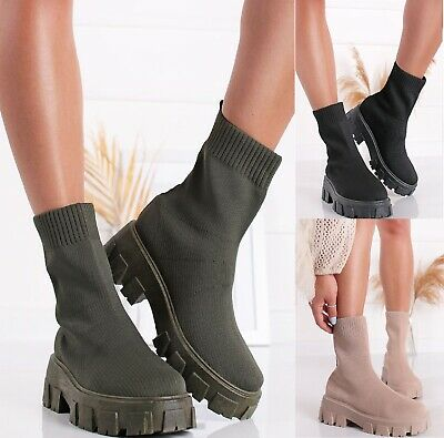 £20.99 • Buy Ladies Platform Sole Chelsea Womens Flat Chunky Slip Knitted Ankle Boots Shoes