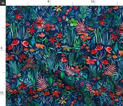 £10.18 • Buy Tropical Ink Watercolor Garden Small Print Navy Spoonflower Fabric By The Yard