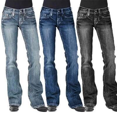 £24.49 • Buy Women Washed Bootcut Jeans Ladies Flared Pants Low Rise Casual Denim Trousers