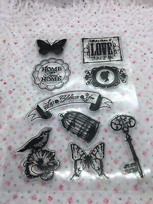 £3.95 • Buy Set Of 9 Butterfly & Vintage Clear Stamps, For Junk Journal, Scrapbook, Ephemera