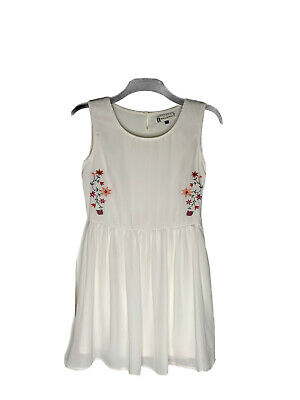 £10.20 • Buy Hearts And Bows Ladies Dress Size 10 White Floaty Lined Embroidery Floral Ditsy