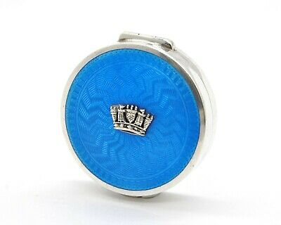 £225 • Buy Art Deco Sterling Silver Guilloche Enamel Royal Navy Crown Rouge Pot Or Compact