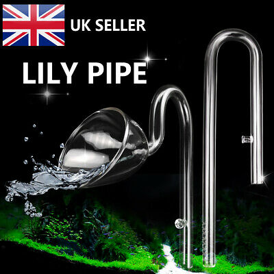 £9.69 • Buy Aquarium Glass Outflow & Inflow 13mm Lily Pipe Filters Tube W/ 2 Suction Cups UK