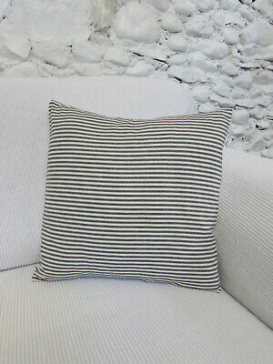 £6.50 • Buy Cushion Cover, Grey, Pale Cream, Stripes, Cotton, Ticking, 15  X 15 .
