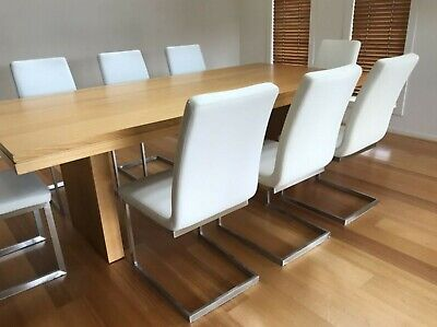 AU200 • Buy 8 White Faux Leather Dining Chairs And 2 Similar Stools, Stainess Square Tubing