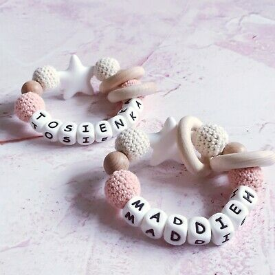 £12 • Buy Personalised Teething Ring Teething Toy Silicone Teether Ships In 24 Hours