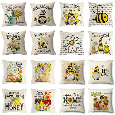 £3.05 • Buy Bee Blessed Comb Honey Dwarf Sunflower Cute Insects Couch Throw Cushion Covers