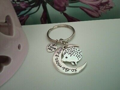 £2.15 • Buy 'I Love You To The Moon & Back' Keyring With A Cute Hedgehog Charm - Lovely Gift