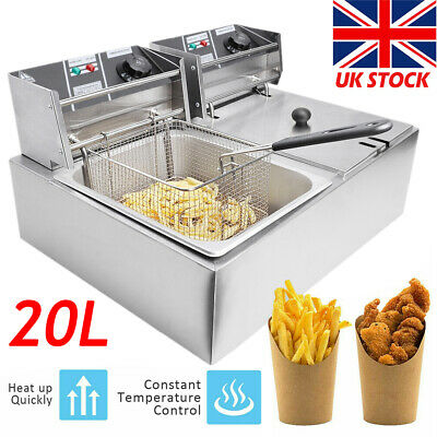 £98.98 • Buy 20L Large Commercial Electric Deep Fryer Fat Chip Twin Dual Tank Stainless Steel