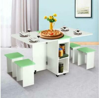 AU170 • Buy Dining Table And Chair 5 Piece Multifunctional Foldable Wood Furniture White&GN
