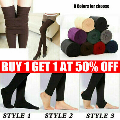 £4.59 • Buy Women's Ladies Winter Warm Fleece Lined Thick Thermal Full Foot Tights Pants Hot