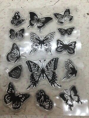 £3.95 • Buy Set Of 13 Butterfly Silicone Clear Stamps, For Junk Journal, Scrapbook, Ephemera