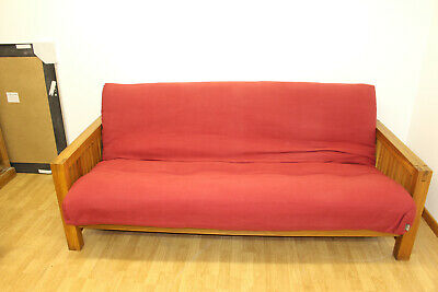 £200 • Buy Double Futon Company Solid Oak Red Sofa Bed, Good Condition For Age