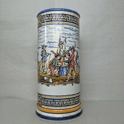 £119.68 • Buy Antique GIEN French Faience Pottery Cylinder Vase Tall 10.5  1870s