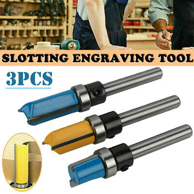£4.69 • Buy 3pcs Woodworking Router Bit Template Cutter 1/4  Shank Wood Flush Trimming Kit