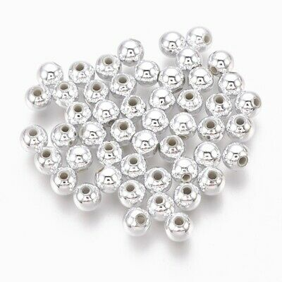 £2.52 • Buy 100 8mm Silver Plated Acrylic Round Spacer Beads