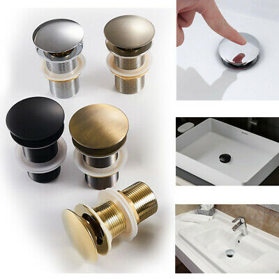 £10.44 • Buy Basin Waste Click-Clack Slotted Unslotted Dome Brass Sink Pop Up Plug Push New
