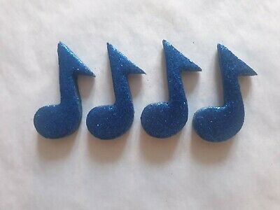 £4.50 • Buy 12 Glittery Blue Music Notes- Edible Sugar Cake Decorations / Toppers