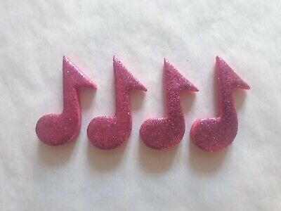 £4.50 • Buy 12 Glittery Pink Music Notes- Edible Sugar Cake Decorations / Toppers